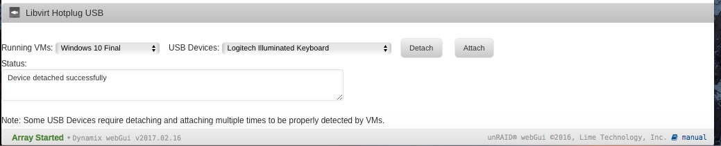 VM Windows 10 - USB Logitech Keyboard - VM Engine (KVM) - Unraid