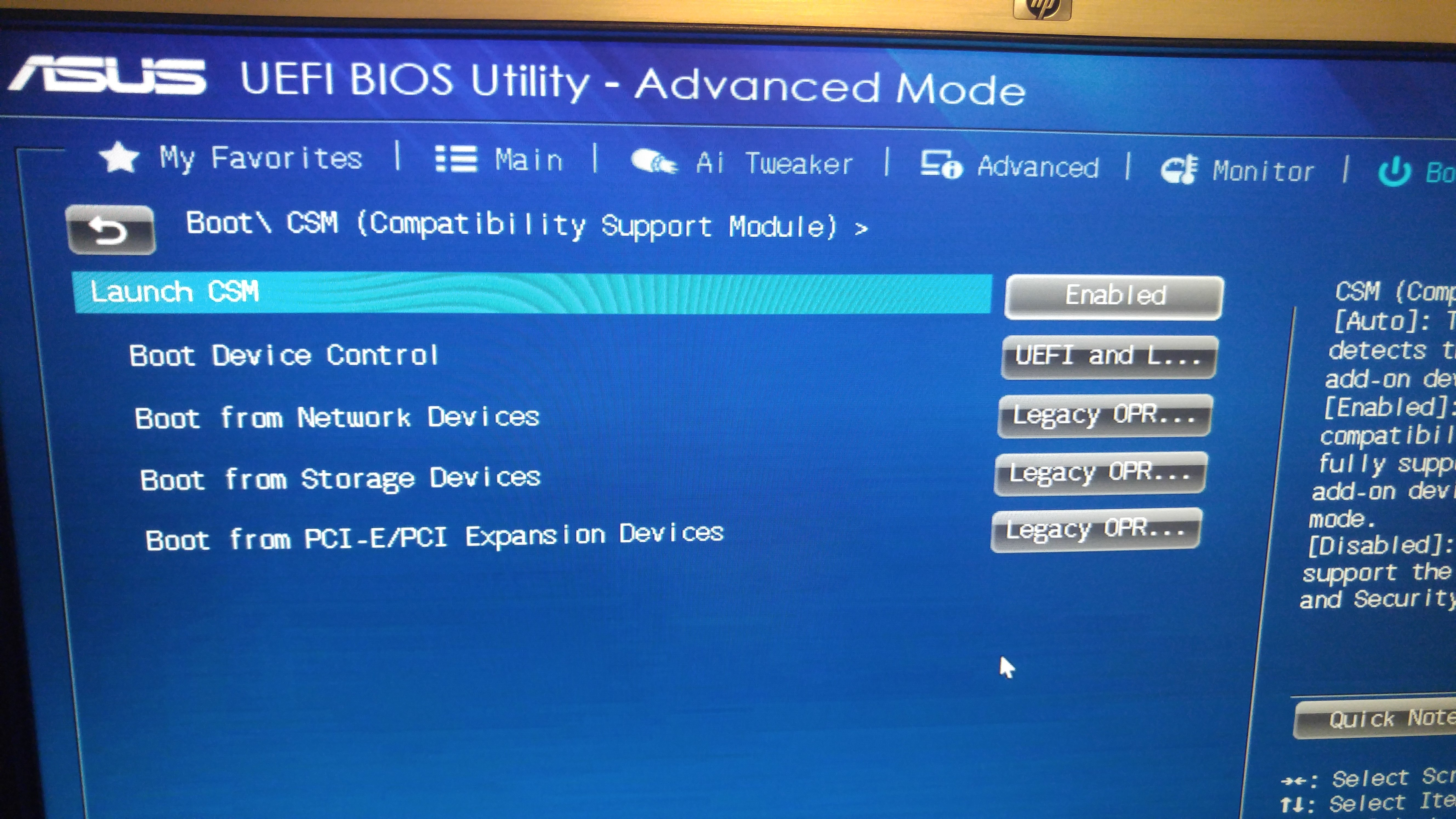 No Csm Option In Bios Asus