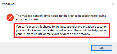 W10: You can't access this shared folder because your organization's